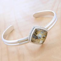 Rutilated Quartz Cuff Bracelet by metalsmitten