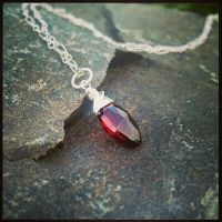 Sanguine Tears Garnet Silver Pendant~ by QuintessentialArts
