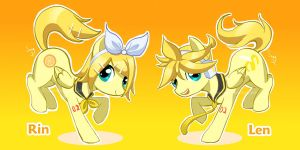 Vocaloid Pony: Rin and Len by canarycharm