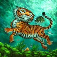 Tiger with Fish for Tiger Stripes by feliciacano