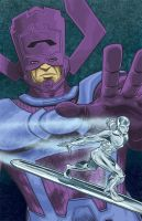 Galactus and the Surfer by artistjerrybennett