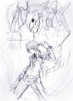 Persona 3: sketch by zamboze