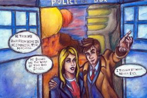 The Doctor, Rose and the TARDIS by InkBurstStudios