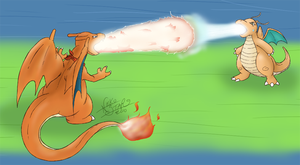 Charizard Vs. Dragonite by TheNekoStar