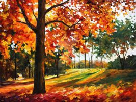 Freedom Of Autumn Park by Leonid Afremov by Leonidafremov