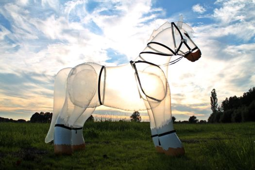 Transparent inflatable horse with harness by HorseplayInflatables