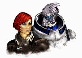 Shepard and Garrus by MistressMoitie