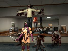 Mileena Zombie Killing BloodBath in Office by UndeadNinja421