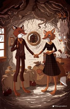 Mr and Mrs Fox (After Van Eyck) by Douglasbot