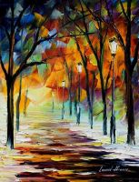 Winter alley by Leonid Afremov by Leonidafremov