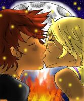:Stoked:Campfire Kiss by LainyLu