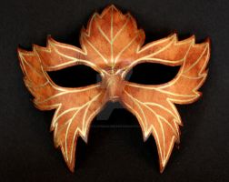 Leather Leaf Mask with Gold Trim by themotleymasquerade
