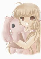 chobits: Chii with plush doll by Midna01