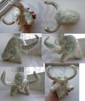 Ceramic clay aurochs whistle by Drerika