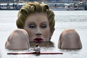 Giantess statue in lake by giorunog