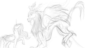 Discord and Celestia WIP by jumentous
