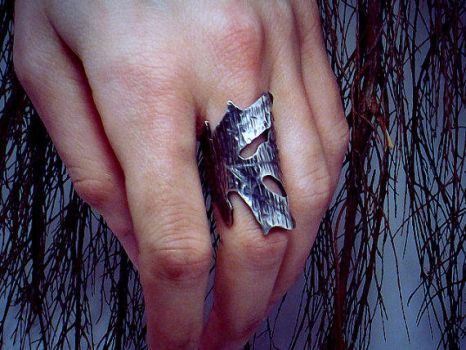 Sterling Silver Hand Sawed Oak Leaf Ring by TheWickedGriffin