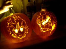Sora and Roxas pumpkins by SinfulBlessing