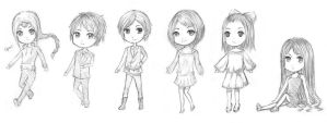 Chibis Sketches #1 by Rosy-Iris