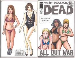 Walking Dead Swimsuuit Edition Sketch cover by kevinsunfiremunroe