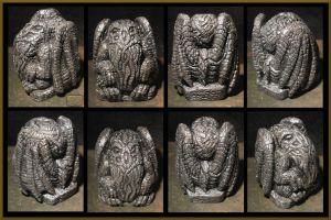 Ornate Pewter Mercury Cthulhu Idol by CopperCentipede