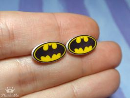 Batman earrings studs by voodoogrl