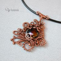 Statement copper wire pendant with dichroic glass by artual