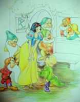 Snow white and the seven dwarf by AnaDemian