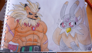 Leomon and .. Drawing by Krayzieee
