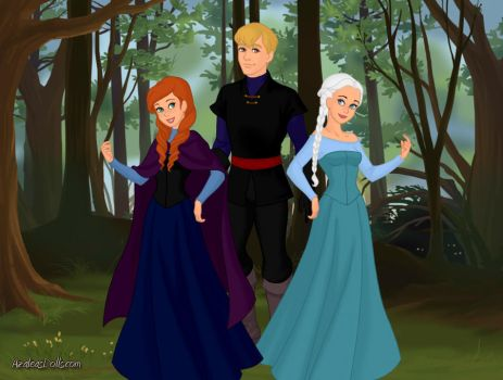 Anna, Queen Elsa and Kristoff by ArielxJim08