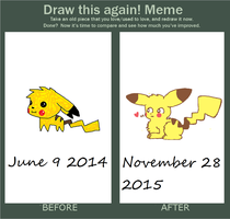 Before And After: Chibi Pikachu by Aquarithyst