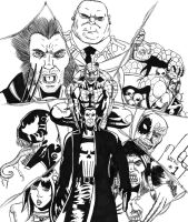 Punisher vs. the Marvel Universe by spidervenom022
