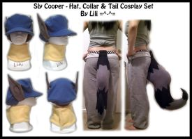 Sly Cooper - Hat, Collar and Tail Set by LiliNeko
