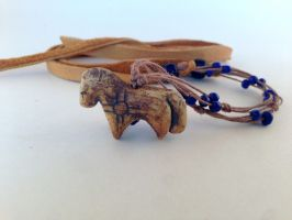 Blue Bead Spirit Horse Necklace by LadyAkeldama