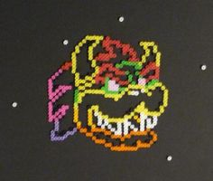 Rainbow Road Neon Bowser Bead Portrait by monochrome-GS