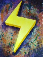 Lightning Bolt Monoprint by Scratch-My-Mitch