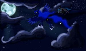 A night time flight by AlicornRarity