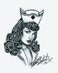 Bettie Page with tribal hair by pucksgryn