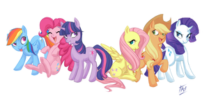 Mane Six by kathrynlayno
