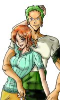 Zoro x Nami - Colour by Avro-Chan