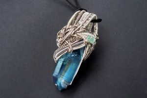 Aqua aura wire wrapped pendant by dogzillalives
