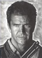 Mel Gibson portrait by RogueDerek
