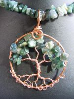 Moss agate chip leaves with copper bark in cop by BacktoEarthCreations