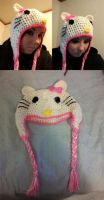 Hello Kitty Crochet Hat v1 by xKornsFreakx
