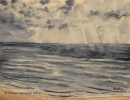 Cloudy Day On The Sea Bank - watercolor by Oksana007