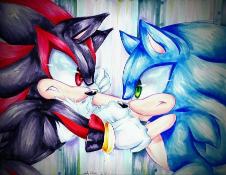 Shadow vs Sonic by SilverDreams7