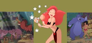 Animal Party with Ariel and Mowgli by hypnotica2002