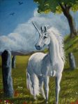 ACEO Unicorn and standing stone by echdhu