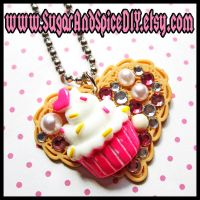 I Love Cupcakes Deco Necklace by SugarAndSpiceDIY