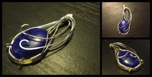 Blue Howlite Wire Wrapped Pendant by BlockheadGaming